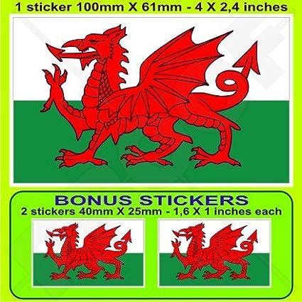 WALES Welsh Flag CYMRU UK 4' (100mm) Vinyl Bumper Sticker, Decal x1 +2 BONUS StickersWorld