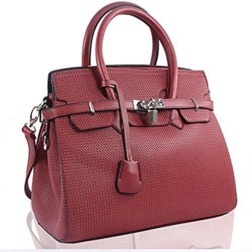 sacchi donna a spalla Borsa Rosso Trendstar di forma a di lucchetto da similpelle Bourgogne progettista Borsa XwXxPznISq