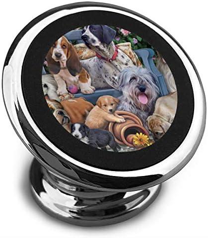 ベンチの犬 携帯電話ホルダー おしゃれ 車載ホルダー 人気 磁気ホルダー 大きな吸引力 サポートフレーム 落下防止 360度回転