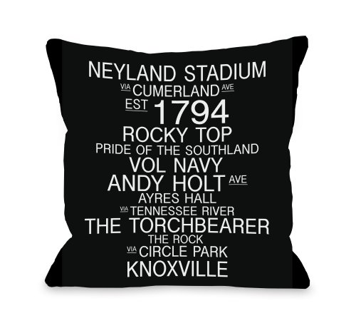 """One Bella Casa Knoxville, Tennessee Landmarks Throw Pillow by OBC, 16""""x 16"""", Black/White from One Bella Casa"""