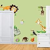 Adesivo da parete adesivi murali dolce animali giraffa scimmia Leone Zoo 30x 90cm