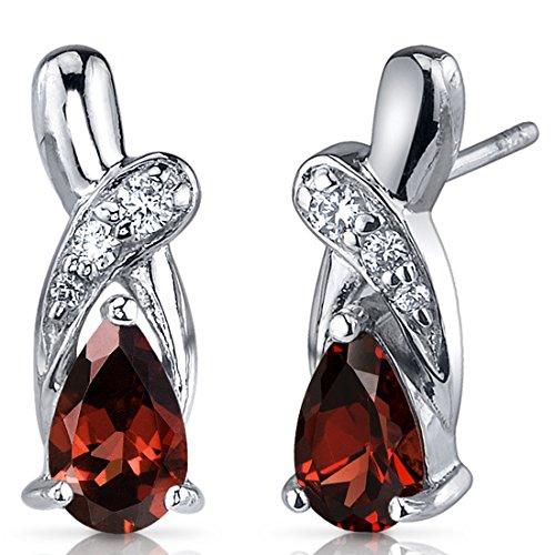 Garnet Earrings Sterling Silver Rhodium Nickel Finish 2.00 Carats Pear Shape CZ Accent