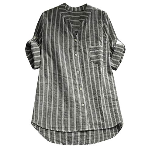 (Blouses for Womens Casual,Nuewofally Summer T-Shirts Striped V-Neck Oversized Button Front Tops)