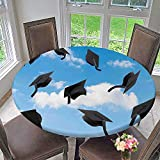 The Round Table Cloth Thrown into Sky Last of The School Highschool College Ceremony Picture Blue Black for Birthday Party, Graduation Party 40''-43.5'' Round (Elastic Edge)