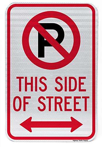 Arrow Sign Double (NO Parking with Symbol This Side of Street Double Arrow Sign 12