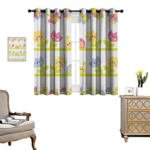 Warm Family Kids Room Darkening Wide Curtains Cartoon Character Bees Tulip and Daisy Flowers Snails Garden Pattern Decor Curtains by W55 x L39 Baby Blue Pale Green Yellow (Tulip Brocade)