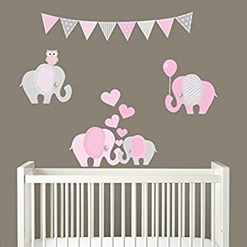 Amazoncom Pink And Grey Elephant Wall Decals Elephants Wall - Elephant wall decalsamazoncom elephant bubbles wall decal nursery decor baby