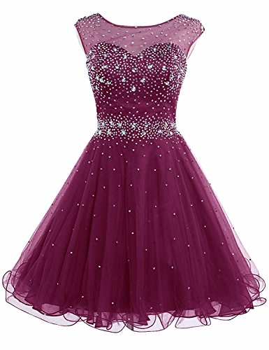 Sarahbridal Juniors Short Tulle Prom Party Dresses Beaded Homecoming Gowns Burgundy US14