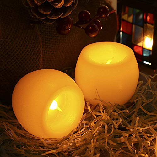 Candles Battery Operated Greenclick LED Flameless Candles Flickering Unscented for Seasonal and Festival Celebration 2 Sets - Pedestal Table Outdoor Round High
