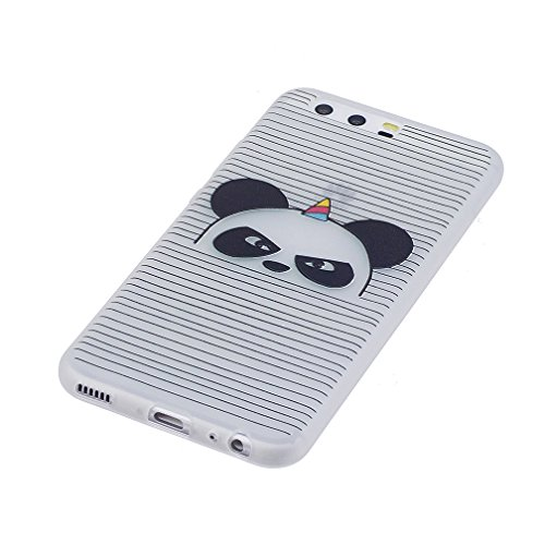 Funda Huawei P10,XiaoXiMi Carcasa de Silicona TPU Suave y Esmerilada Funda Ligero Delgado Carcasa Anti Choque Durable Caja de Diseño Creativo - Unicornio Angry Panda