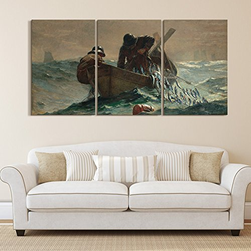 Herring Net - wall26 3 Panel World Famous Painting Reproduction on Canvas Wall Art - The Herring Net by Winslow Homer - Modern Home Decor Ready to Hang - 16