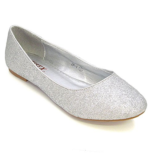 Glitter Silver Essex donna Glam Ballerine wIxZXBO