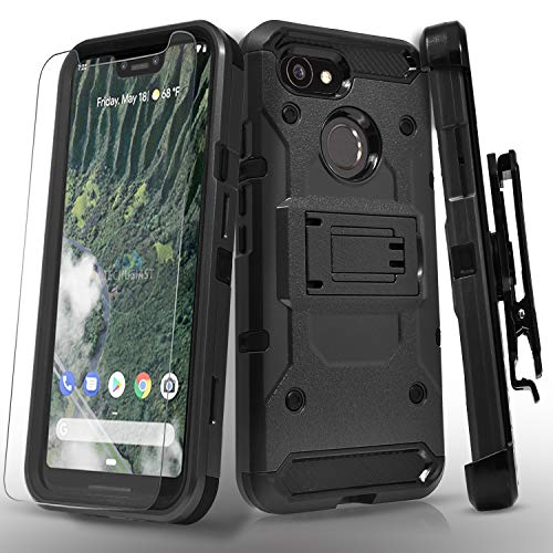Google Pixel 3 XL Case, with [Tempered Glass Screen Protector] Full Cover Protection Heavy Duty Dual Layers Phone Cover [Not Fit Pixel 3] with Kickstand and Locking Belt Clip-Black