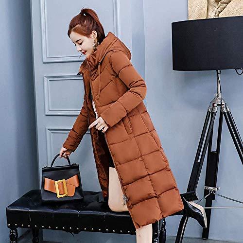 Le Cappuccio Hot Qiusa Giacche Dimensione Winter colore Marrone Cappotto Signore Addensato Con Xl Coat Women Marrone Per Warm Collar Long Imbottito g6d467nqx