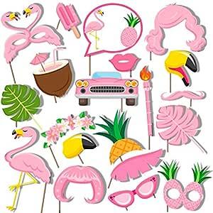 Bdecoll 20Piezas Flamingo Photo Booth Atrezzo, Cumpleaños de la boda Accesorios de Photobooth Favores de fiesta Suministros Decoraciones