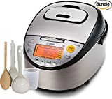 Tiger JKT-S10U-K IH (5.5 Cups Uncooked/11 Cups Cooked) Rice Cooker with Slow Cooker and Bread Maker Stainless Steel, Black & Zonoz 8-Inch Rice Paddle / Wooden Stirring Spoon Bundle
