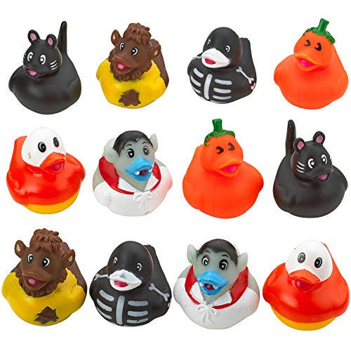 Halloween Rubber Ducky - Set of 12 Assorted Duckies for Kids Party Favors, Gifts on Birthdays, Trick or Treat, Baby Showers, Bath Companion for Summer Beach and Pool Activity, Sensory -
