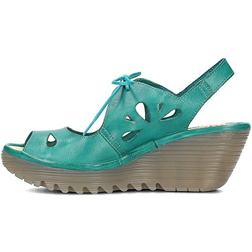 Fly London Yend Wedge Sandal With Laces Green uo49AxcVj