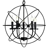 EdiMoM-Light Black Industrial Vintage Retro Pendant Light Chandelier, Max 300W with 5 Lights Metal Hanging Fixture