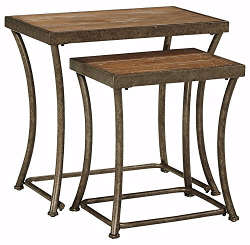 Ashley Furniture Signature Design - Nesting End Table Set - Rustic Mix of Metal and Wood - Vintage Casual - Set of 2 - Light Brown