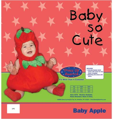 Dress Up America Baby Apple, Red, 6-12 Months