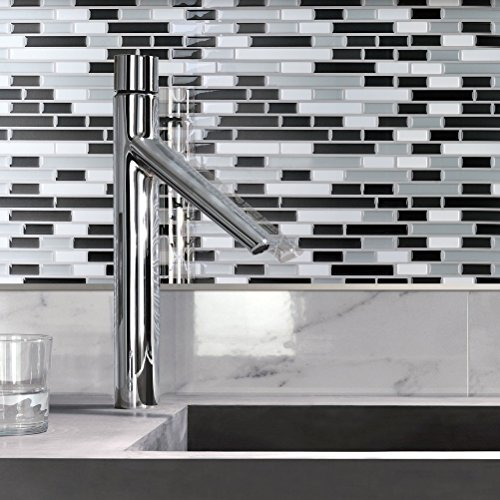 Art3d 10 Piece Backsplash Bathroom Gray White product image