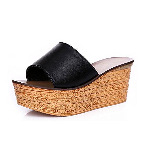Pantoufles couleurs femmes Noir EU39 épais Bleu d'été de Sandales facultatives mode 5CM chaussures 7 femmes Chaussons Pour taille CN39 HAIZHEN Couleur Six pour femme UK6 wTxq1T6Y