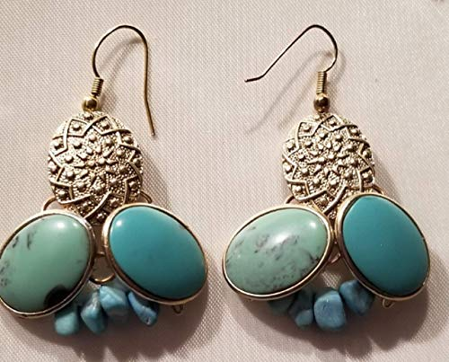 - Up Cycle Vintage Turquoise Gemstone Chip Beads Drop Earrings