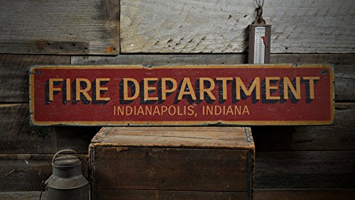 The Lizton Sign Shop Fire Department City State Wood Sign, Personalized Fire Station Location Fireman Decor - Rustic Hand Made Vintage Wooden Sign - 11.25 x 60 Inches