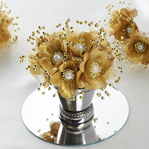 BalsaCircle 72 Gold Faux Pearl Craft Beaded Flowers - Mini Flowers for DIY Wedding Birthday Party Favors Decorations Supplies ()