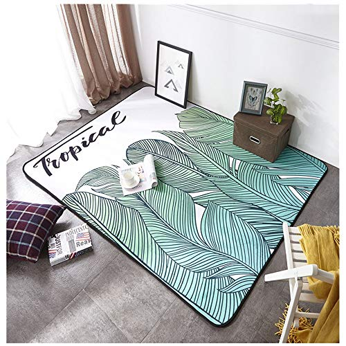 Cartoon Fashion Living Room Bedroom Upholstery Yoga Picnic Climbing Carpet Floor Pad (Color : Fresh and Green Leaves.)