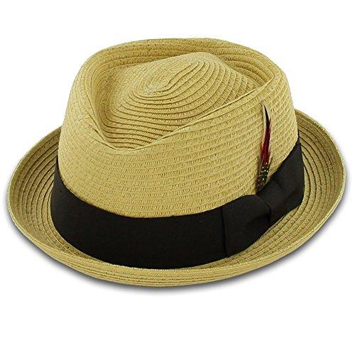 Belfry Men/Women Summer Straw Pork Pie Trilby Fedora Hat in Blue, Tan, Black (Medium, Natural) -