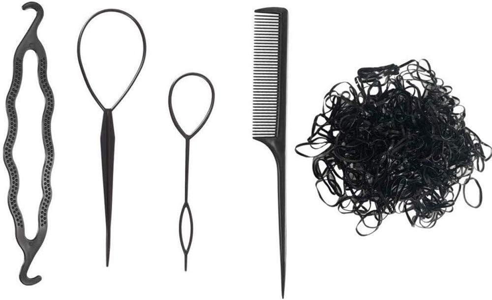Homo trends - Herramientas para trenzas de pelo de cola y pelo rápido para hacer bollos de cola de caballo con 104 bandas elásticas para el pelo para mujeres y niñas
