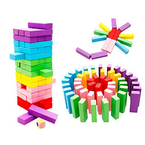 KINGZHUO 48 Pc Wooden Stacking Board Games Building Blocks for Kids Children Educational and Intelligent Toy Gift by KINGZHUO