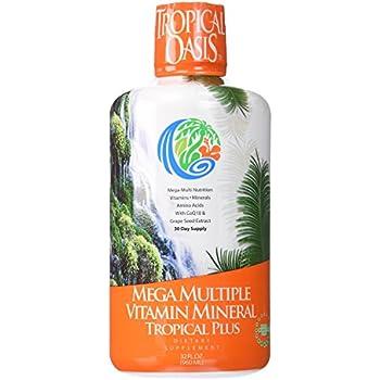 Tropical Oasis Mega Plus - Liquid Multivitamin and Mineral Supplement – Includes 85 Vitamins & Minerals, 20 Amino Acids + CoQ10, Grape Seed Extract & Organic Aloe Vera -- 32oz, 32 servings
