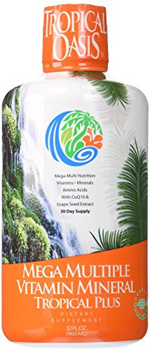 Tropical Oasis Mega Plus - Liquid Multivitamin and Mineral Supplement – Includes 85 Vitamins & Minerals, 20 Amino Acids + CoQ10, Grape Seed Extract & Organic Aloe Vera — 32oz, 32 servings