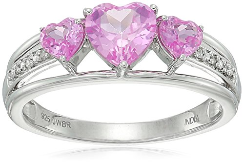 ver Lab Created Pink Sapphire Heart With Diamond Accent Three Stone Ring, Size 7 (Created Pink Sapphire Heart)