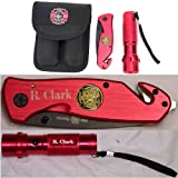 Custom Engraved Firefighter Knife, Flashlight and Pouch Combo Pack, Personalized