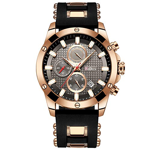 Mens Watches Chronograph Waterproof Sports Designer Rose Gold Large Face Luminous Date Wrist Watch Luxury Fashion Rubber Analogue Quartz Watches for Men - Black (Designer Watch Womens)