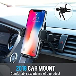 Car Mount,Patekfly Universal 360° Swive Car Air Vent Phone Mount Holder Cradle With Gravity Self-locking One-Touch Design For iPhone X 8 8 Plus 7 7 Plus Samsung Galaxy S8 LG Nexus Sony Nokia and More