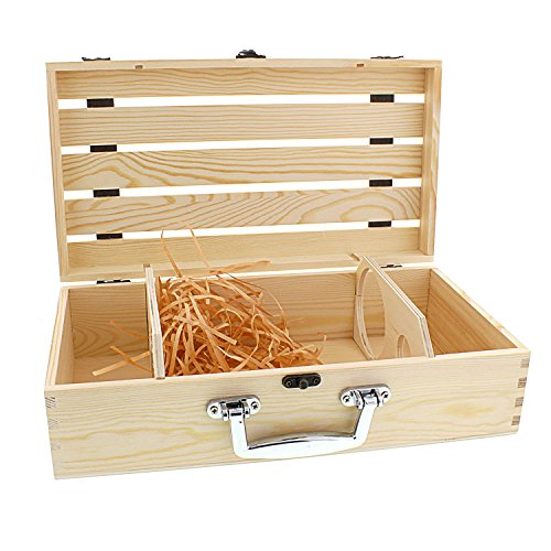 Cheftor Handmade Artisan Vineyard Design Natural Pine Wood Crate for Two Wine Bottles Travel Storage Gift Box Carrying Display Case (Gift Crates Boxes)