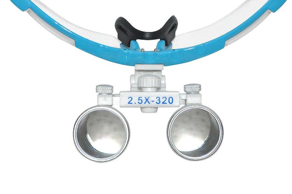 Zorvo Dentist Dental Surgical Medical Binocular Loupes 3.5X 320mm Optical Glass Loupe +Dental LED Head Light Lamp (Blue Color)