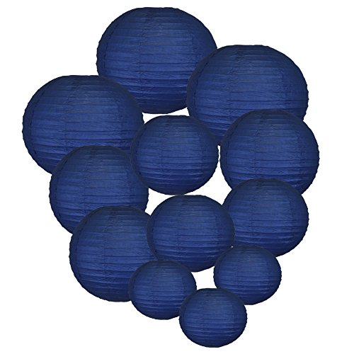 Just Artifacts Decorative Round Chinese Paper Lanterns 12pcs Assorted Sizes (Color: Navy Blue) ()