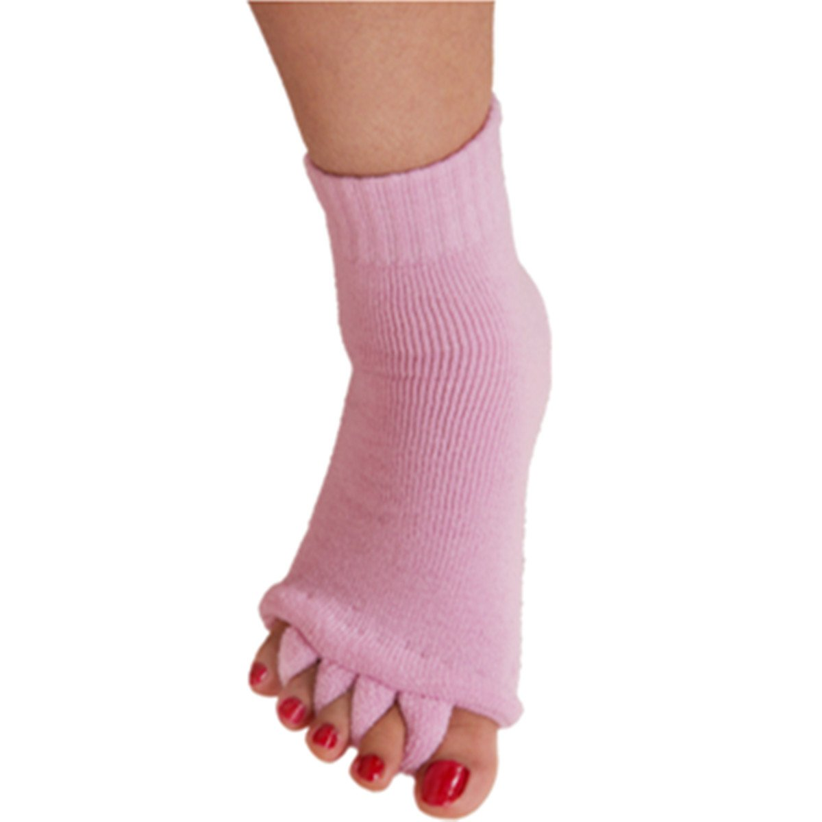 1 Pair Yoga GYM Massage Five Toe Separator Socks Foot Alignment Pain Relief Hot (One Size, A-purple)