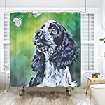 SARA NELL Shower Curtains Black and White English Cocker Spaniel Butterfly Oil Painting Shower Curtain Fabric Waterproof Fabric Bathroom Curtain Set with 12 Hooks - 72 x 72 Inch 8