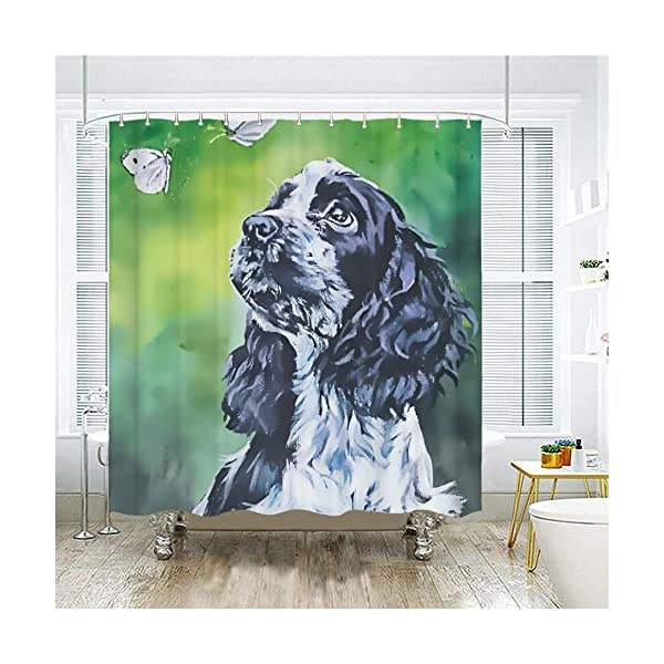 SARA NELL Shower Curtains Black and White English Cocker Spaniel Butterfly Oil Painting Shower Curtain Fabric Waterproof Fabric Bathroom Curtain Set with 12 Hooks - 72 x 72 Inch 3