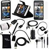 DigitalsOnDemand ® 13-Item Accessory Bundle for HTC One M7 - Leather Case, TPU Cover, Screen Protector, USB Cables + Chargers