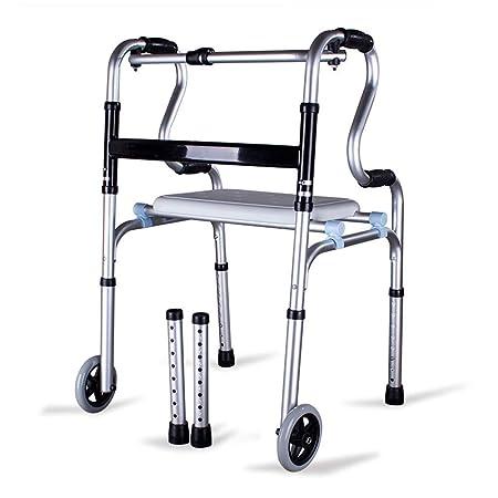 YXIUER - Andador plegable de aleación de aluminio con ruedas ...