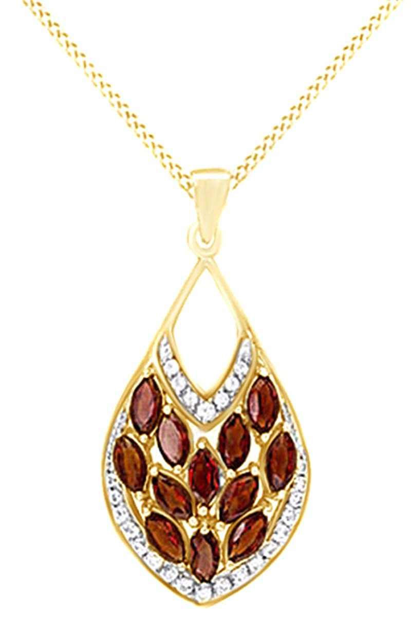 AFFY Simulated Yellow Citrine /& White Cubic Zirconia Dangle Pendant in 925 Sterling Silver 2.24 Cttw