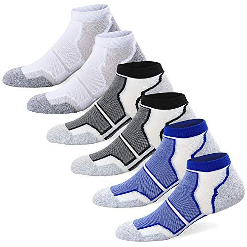 Well Knitting Mens 6 Pack Performance Comfort Fit Cushioned Coolmax Athletic No Show Low Cut Running Hiking Sports Socks